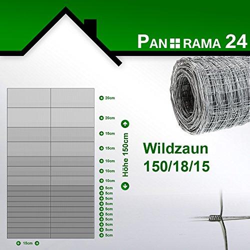 Wildzaun Forstzaun Weidezaun Rollenware Verzinkt 150/18/15 50m