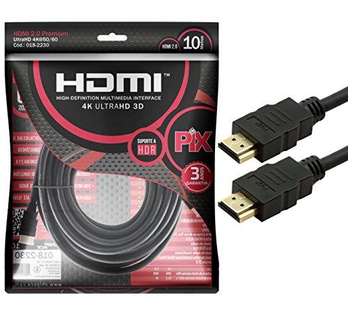 Cabo HDMI 10MT 2.0 4K Ultra HD, HDR 19P Pix - 018-2230
