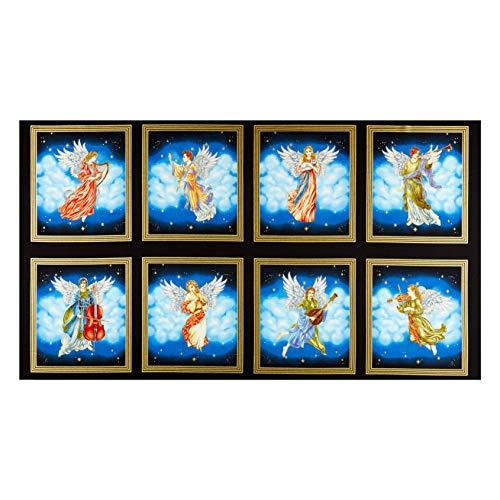 Henry Glass Metallic Silent Night Angel Blocks 24in Panel Midnight Fabric