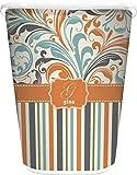 YouCustomizeIt Orange Blue Swirls & Stripes Waste Basket - Double Sided (White) (Personalized)