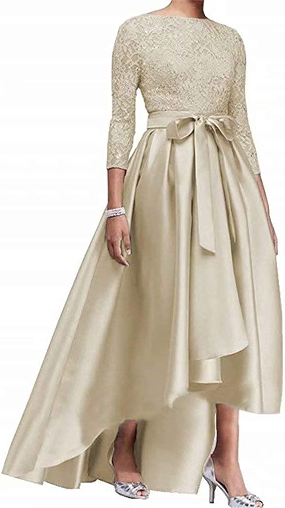 SEAL限定商品 Women's Satin Lace 3 4 Sleeve Hi-lo 世界の人気ブランド Mother of Dresses Bride The