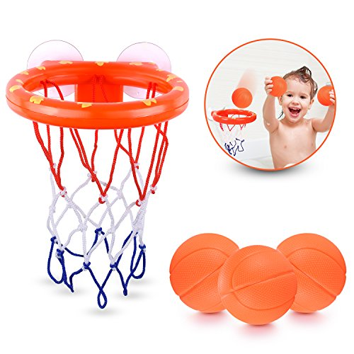 BRITENWAY Fun Basketball Hoop & Balls Playset for Little Boys & Girls | Bathtub Shooting Game for Kids & Toddlers | Suctions Cups That Stick to Any Flat Surface + 3 Balls Included