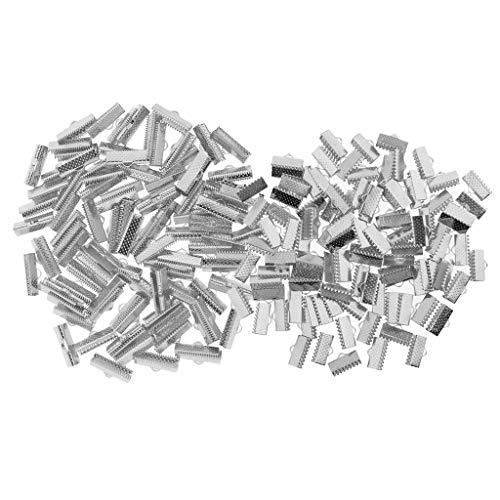 Bonarty 200 Piezas 20/13 Mm Extremos de Cinta Cierres de Sujeción Extremo de Engarce Texturizado Abrazadera de Extremo de Cable