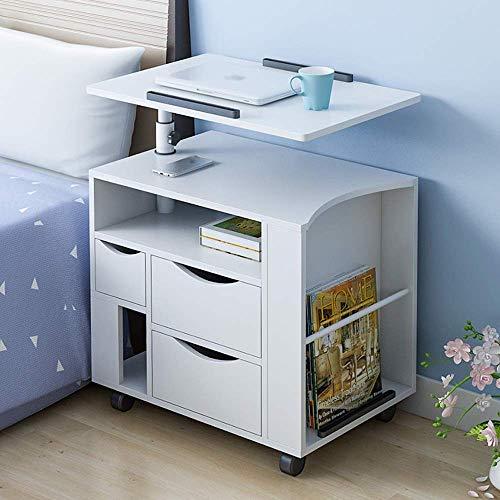ZGYQGOO Nachttische, einfach anhebbarer mobiler multifunktionaler Nachttisch aus Holz mit großer Kapazität, geeignet für Wohn- / Schlafzimmer/Arbeitszimmer, 4 Farben erhältlich (Farbe: Weiß pur)