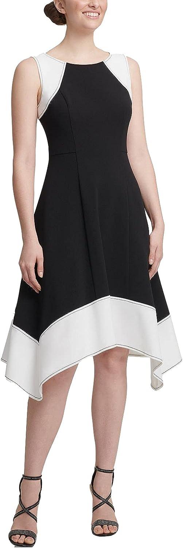 DKNY Womens Black Color Block Sleeveless Crew Neck Knee Length Wrap Wear to Work Dress Size 6