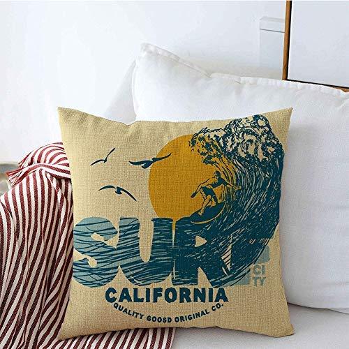Fundas de Cojines Fundas Cojines Estuches Decorativos Dibujo Símbolo de Surf Tipografía Ciudad Surfer Big Hawaii Wave Signo de Agua gráfico Tropical Vintage Sun para sofá Sofá Cama 18'x18'
