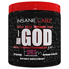 INSANE ENERGY AND ENDURANCE. One of the strongest pre workouts ever created, I am God is formulated to push your workout limits. Loaded with caffeine, DMAE, and Beta-alanine, this high stim pre-workout will increase your stamina, endurance and streng...