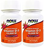 Now Foods Vitamin D-3 10,000 IU 120 Soft Gels (2 Pack)