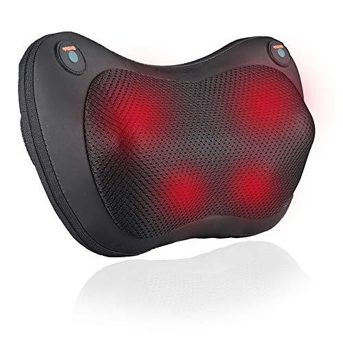 HEMCER Massagekissen Shiatsu Massagegeräte für Nacken Schulter Rücken, Elektrische Nackenmassagegerät mit Wärmefunktion und 3D-rotierenden Massageköpfen für Muskelschmerzen Erleichterung.