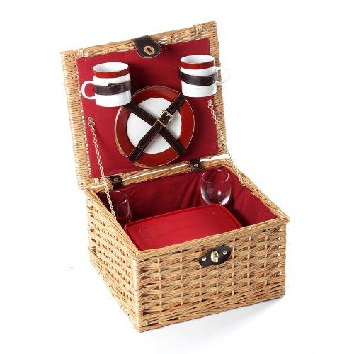 Greenfield Collection Dorchester Cesta de Picnic en Mimbre, para 2 Personas, Color marrón, Porcelana, 35.00x30.00x20.00 cm