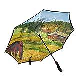 ISAOA - Paraguas de golf con diseño de caballo en las montañas y paisaje invertido con funda de transporte