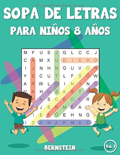 Sopa de letras para niños 8 años: Juego didácticos para niños - Con soluciones y letras grandes (Vol. 1)