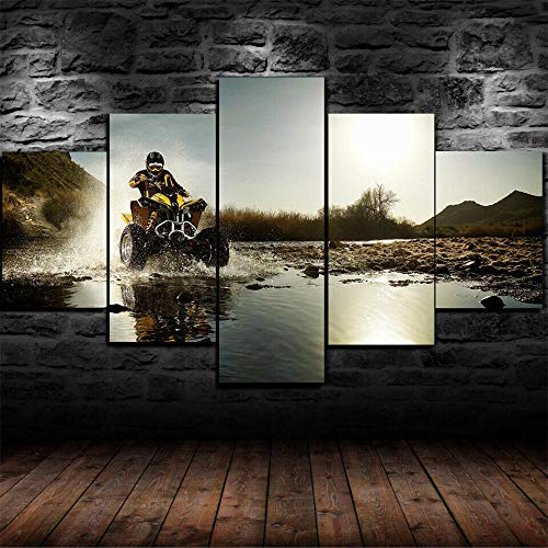 KOPASD ATV Motocross Quadricycle Bike 5 Piece Stretched and Framed Canvas Prints Contemporary Artwork Pictures Paintings on Canvas Wall Art for Living Room Bedroom Home Decorations