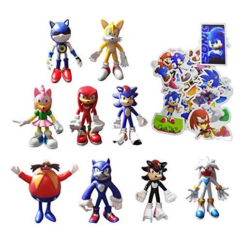 XINSHENG Sonic Big Figure 9 unids/lote 4 pulgadas Sonic el erizo figura de acción