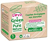 Love & Green Pure Nature - Pañales ecológicos sin blanquear T5, 11-25 kg