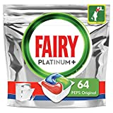 Fairy Platinum+ Pastilles Lave-Vaisselle, Peps Original Défie les taches les plus coriaces, 64 Doses