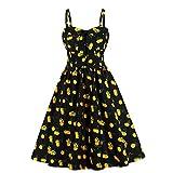Wellwits Women's Big Bow Front Wide Strap Orange Fruit Print Black Vintage Dress 2XL