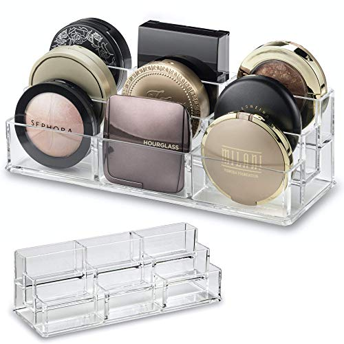 byAlegory Acryl Tiered Compact Makeup Organizer für Bronzer Highlighter Powder Blush | 9 Space Storage 3-stufiger Kosmetik-Schönheitsbehälter