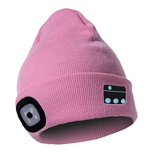 MagiDeal Casquette de Musique d'hiver Bluetooth Beanie Hat avec Écouteurs Stéréo sans Fil - Rose, 40-60 cm