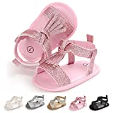 Babelvit Infant Baby Girls Soft Sole Summer Sparkle Sandals Flower Shoes Bowknot Dressy Sandal Candy First Walker Crib Shoes
