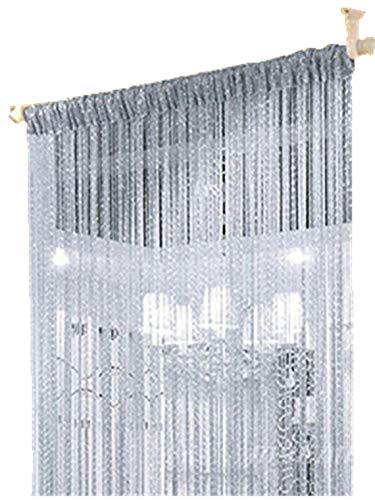 ave split Decorative Door String Curtain Wall Panel Fringe Window Room Divider Blind Divider Tassel Screen Home 100cm200cm (Silver18)