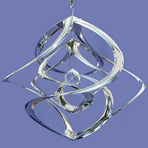 Pommerntraum ®   Edelstahlwindspiel XXL MIT 4 cm KRISTALL - ROSTFREI   Windspiel Edelstahl   Winddancer   Double-Twister   Twister   Garten Kunst   50 cm - XXL