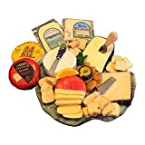 GiftWorld Gourmet Cheese Sampler - Cheese & Crackers 2 LB. Assortment - Brie, Manchego, Gouda & Cheddar Cheeses - Dalmatia Fig Spread & Crackers - Cheese Knife - Expedited Shipping