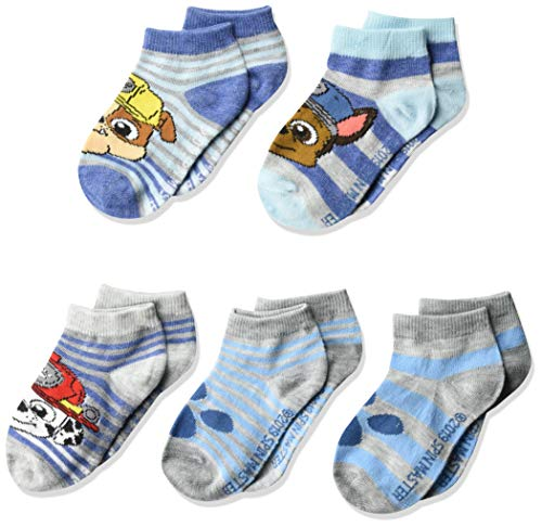 Nickelodeon Paw Patrol - Calcetines cortos para niño (5 unidades), Gris Azul Multi, Fits Sock Size 5-6.5; Fits Shoe Size 4-7.5