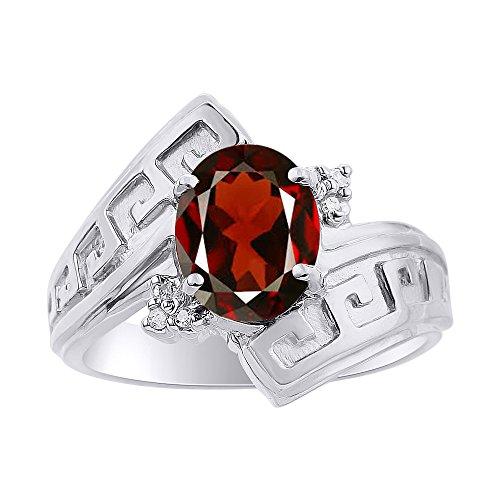 Juego de anillos de plata de ley con diamantes y granate, diseño de llave griega, piedra de color y piedra de nacimiento
