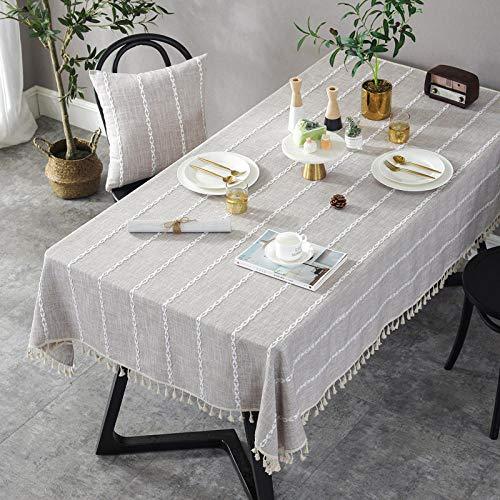 QAQ Tischdecke Stoff Tischdecke Nordic Baumwolle und Leinen Couchtischdecke Couchtischauflage Essecke, Nussbaum hell_110 * 160cm