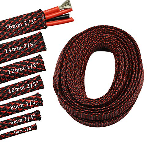 30ft PET Expandable Sleeving Flexo Wire Cable Sleeve (1/6', Red&Black)