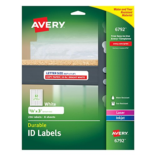 Avery Durable ID Labels Permanent Adhesive 5/8 x 3 Pack of 256 6792