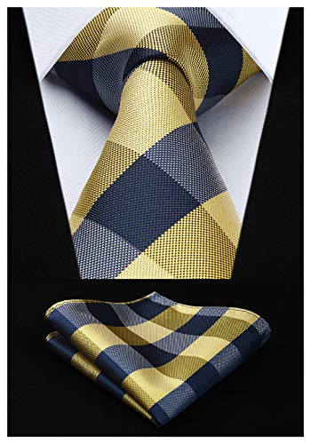 HISDERN Comprobar lazo de la boda Pa?uelo Hombres Corbata & Plaza de bolsillo Conjunto Amarillo/blanco/gris