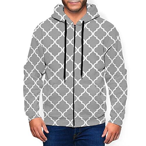 Sudadera con capucha para hombre con cremallera completa con capucha y diseño clásico con capucha, Azulejo marroquí gris y blanco entramado negro, XXL