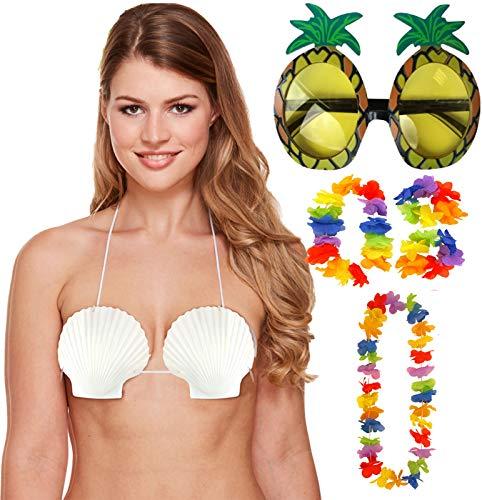 Labreeze Lei Ananasbrille, für Damen, Seemuschel-BH, 4 Stück