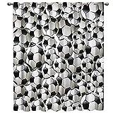 PENVEAT Fußball Vorhänge Bälle Fußball Design 3D Fenster Vorhänge für Wohnzimmer Schlafzimmer Küche Cortinas para Sala De Estar Polyester, LXM00905,135 Watt x 215 H (cm)