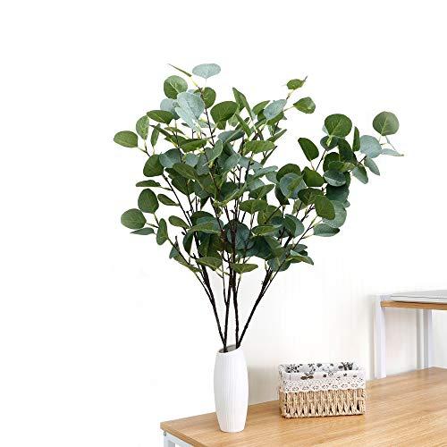 SANEKI Eucalipto plantas artificiales 4 piezas Eucalipto Hojas Artificiales , Eucalipto Rama Tallo Artificiales Decoración para oficinas 90cm