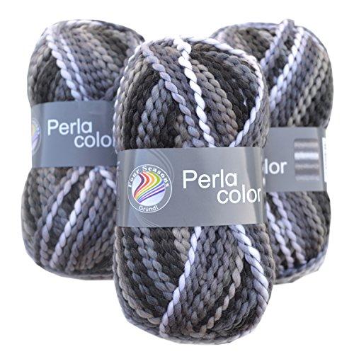 Perla Woll-Set Farbe Chess (22) 3er-Set Wolle zum Stricken und Häkeln, Strickpackung incl. Strickanleitung