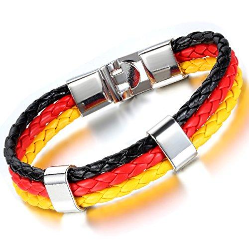 Cupimatch dames heren Duitse vlag embleem armband, gevlochten wereldkampioenschap manchet koordarmband armband, zwart rood geel