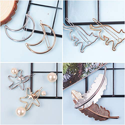 32pcs Hair Clips Gold Silver Geometric Clips Dainty Feather Moon Triangle Circle Hairpin Star Cat Hair Barrettes for Women
