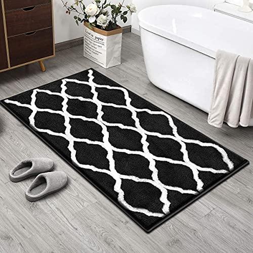 Pauwer Badmat antislip badmat microvezel wasbaar hoogpolig badmat badmat badmat (zwart, 70x120cm)
