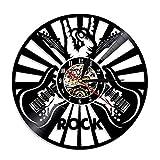 SuDeLLong Reloj de Pared único Reloj de Pared Vinilo Vintage decoración casera Oficina Guitarra Rock Musica (Color : Black, Size : 12 Inches)