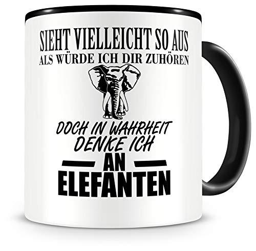Samunshi® Ich denke an Elefanten Tiere Tasse Kaffeetasse Teetasse Kaffeepott Kaffeebecher Becher