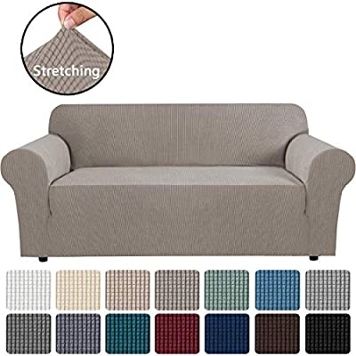 """H.VERSAILTEX Stretch Sofa Covers Couch Cover Furniture Protector Sofa Slipcover 1-Piece Feature High Spandex Textured Small Checks Jacquard Fabric with Elastic Bottom(Sofa 72""""-96"""" Wide: Taupe)"""