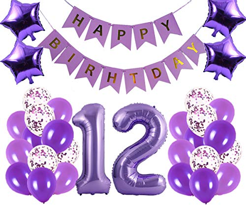 12th Birthday Party Decorations Kit Happy Birthday Banner with Number 12 Birthday Balloons for Birthday Party Supplies 12th Purple Birthday Party Pack