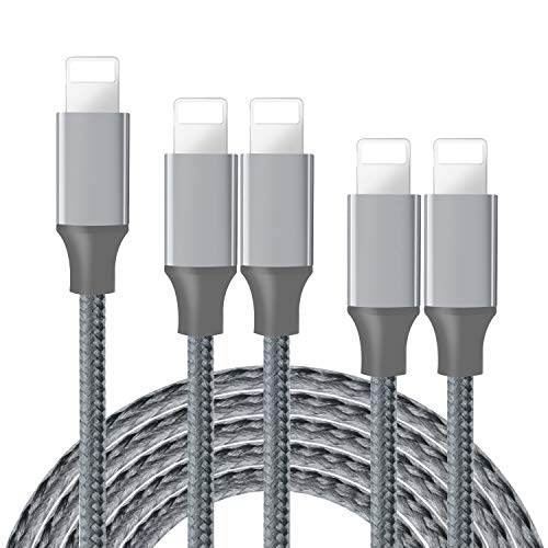 Onpro iPhone Charger, MFi Certified Lightning Cable 5 Pack (3/3/6/6/10FT) Nylon Woven with Metal Connector Compatible iPhone 11/Pro/Xs Max/X/8/7/Plus/6S/6/SE/5S iPad Grey