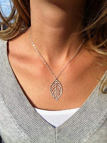 Artmiss Women Leaf Pendant Necklace Gold Long Y-Necklace Delicate Lariat Chain Bar Necklace Jewelry for Girls