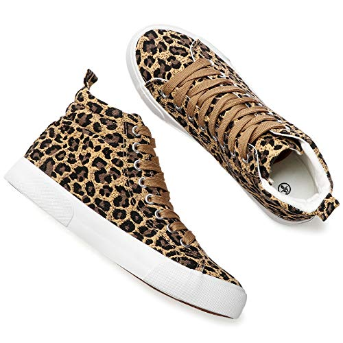yageyan Womens High Top Canvas Sneakers Fashion Thick Lining Shoes Comfortable White and Leopard Winter Walking Shoes(Leopard8)