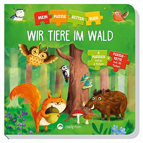 Puzzlekettenbuch Wir Tiere im Wald: 5 Puzzles mit je 6 Teilen