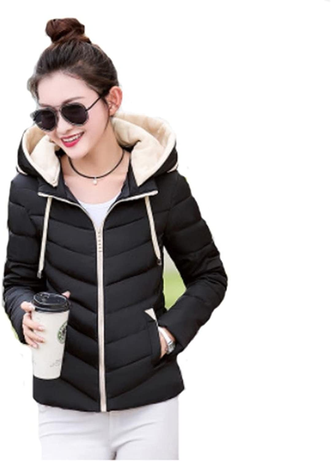 YANXH Winter The New Women Down Jacket Loose Thickening Hooded Short Paragraph Cotton Coat